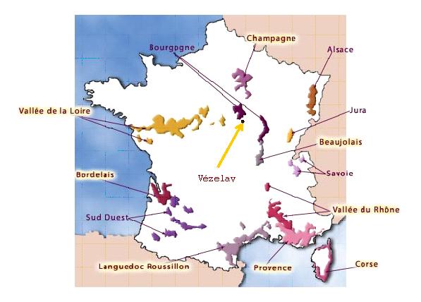 Vezelay France Map.French Wine A Day Vezelay